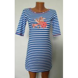 Сукня - смужка  блакитна К-07024