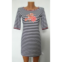 Платье - полоска темно-синее К-07023