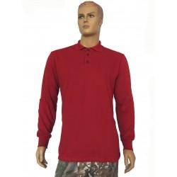Футболка длинный рукав утеплённая красная (Поло)